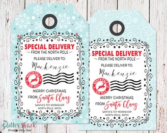 PRINTABLE From Santa Gift Tags, PERSONALIZED Santa Gift Tags, Christmas Gift Tags, Special Delivery, Christmas Tags, Christmas Labels