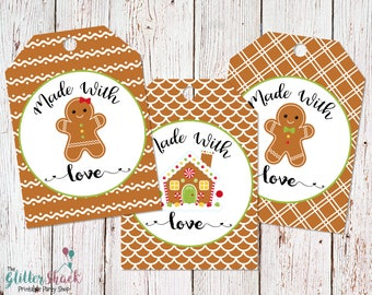 Made With Love Gift Tags, Gingerbread Cookies Gift Tags, Food Gift Tags, Gingerbread Gift Tags, Cookie Tags, Baking Gift Tags, PRINTABLE