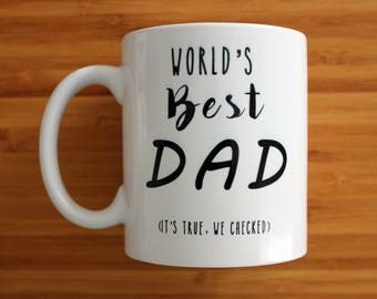 World's best dad mug, dad mug, fathers day mug, gift for him, personalised mug, ceramic mug, gift, coffee mug, tea cup, kids, children,