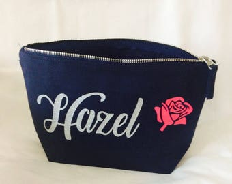 Personalised navy blue makeup bag