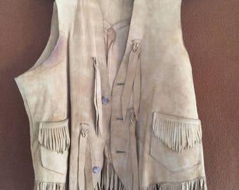 Vintage Buckskin fringed vest