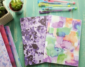 Watercolour hand bound handmade A5 notebook, notepad, journal, saddle stitch, blank white pages