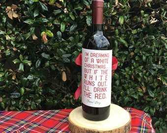 Personalized Wine Wrappers, White Christmas