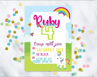 Unicorn Birthday Invitation, Printable invatation, Birthday invitation