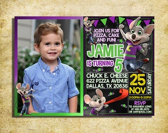 Chuck E Cheese Invitation - Chuck E Cheese Chalkboard Birthday Party Invite With Photo - Printable And Digital File