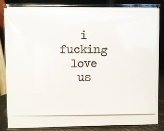 I fucking love us card // Tinder // Valentine's Day // Love // Dating // Relationships // Wedding // To groom // To bride // Funny Valentine