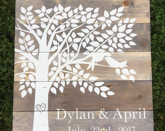 Rustic Wood guest book - Wedding Guest book Wood - Wooden guestbook - Wedding tree guest book - Guestbook Alternative - Rustic - Chic