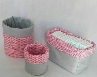 Custom storage baskets reversilbes fabric large, medium and rectangular basket set