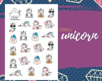 Cute Chill Unicorn Sticker | Happy Planner | Stickers Planner