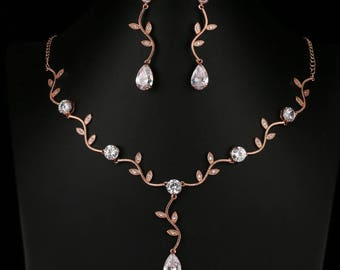 Rose Gold & Crystal Leaf Drop Earrings and Necklace Set (Pierced Earrings)