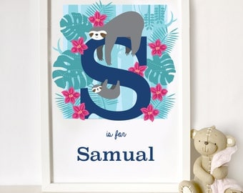 sloth personalised animal alphabet print, letter S name print, nursery print, gift for baby, gift for animal lover, sloth print
