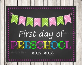 First Day of Preschool Chalkboard Poster Photo Prop 11x14 Printable Instant Download Digital File