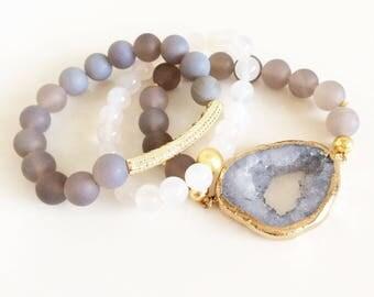 Gray Stretch Beaded Bracelet | Stackable Bracelet | Beaded Bracelet | Boho Bracelet | Bohemian Bracelet | Boho Jewelry | Bohemian Jewelry