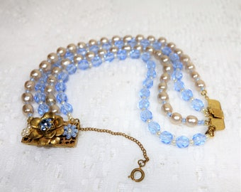 Miriam Haskell Four Strand Baroque Glass Pearl and Blue Glass Bead Necklace