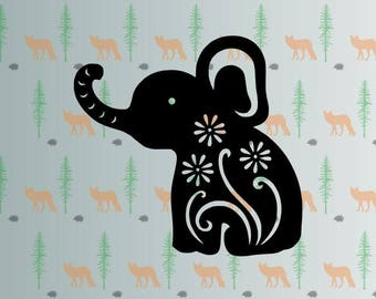 cute elephant svg, flower elephant svg files for cricut, silhouette studio files, instant download clip art, cutting template, vector files