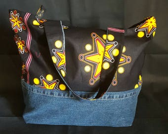 Bag of denim and African fabric