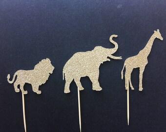 6 x Safari Animal Cupcake Toppers - Jungle cupcake topper/zoo party decor/Lion/Elephant/Giraffe/Jungle animals/African Animals