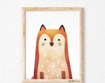 Fox print, fox wall art, studioM, fox art print, fox watercolor, animal print, woodland animals, woodland print, woodland nursery, nursery