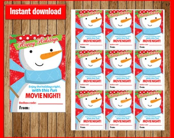 Printable Snowman Christmas Redbox Gift Tag - Merry Christmas and to all a MOVIE NIGHT - Instant Download