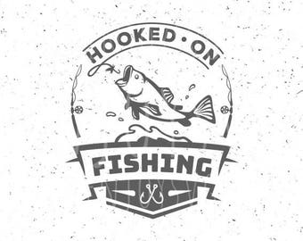 Fishing SVG Hooked on Fishing svg Fishing SVG file Hook svg Fish svg Cut Files Fishing Hook svg Silhouette Cameo Hooks svg Fish svg file