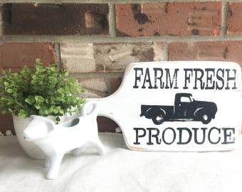 Farm Fresh Produce Wood Sign | Cutting Board