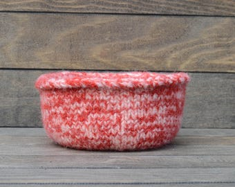 Hand knit Felted Wool bowl