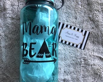Mama Bear motivational water bottle (one side design), accountability water bottle, hourly time tracker (can be added)