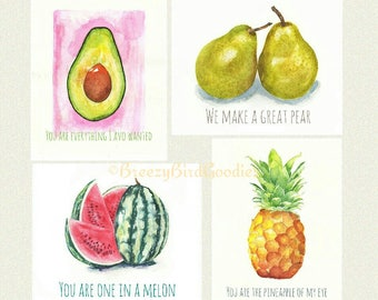 Set of 4 Fruit Cards, Watercolor Food Cards, Love Cards, Handmade Funny Cards, Watercolour Fruits, Card for All Occasions