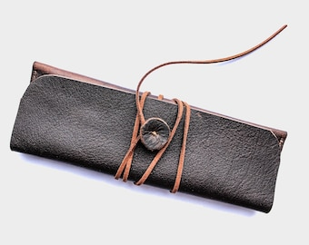 Leather pen case, leather pen holder, leather pencil holder sleeve pouch, fountain pen slip belt, handmade case gift accessories bag brown