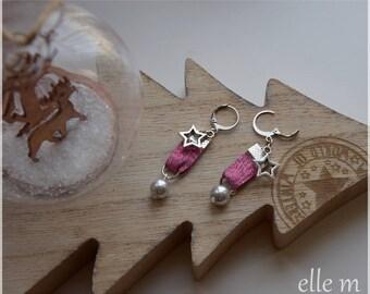 "Earrings ""girly"", Lurex Garnet - Pink Pearl and sequin star"