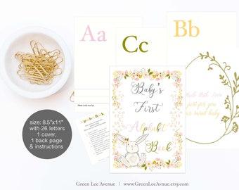 "Alphabet Book Baby Shower Activity Game 8.5""x11"" Baby's First Alphabet Book, book baby shower activity, pink bunny, DIY book, baby girl"