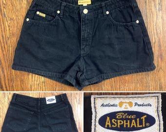 Black denim short shorts by blue asphalt, short shorts size 7, short shorts size 4, blue asphalt short shorts, 90s high waist short shorts