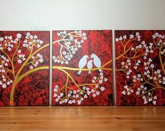 acrylic painting 3 piece wall art triptych wall art large wall art