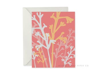 Pink Foliage, A2 notecard, Blank Inside, Floral Stationery