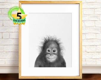 Baby Orangutan Print, Nursery Wall Art, Baby Safari Animal Print, Black and White, Baby Monkey Print, Baby Animal Poster, Orangutan Photo
