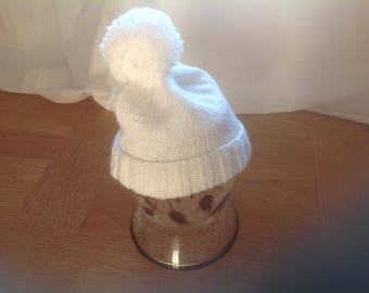 White Hand knitted Bobble Hat