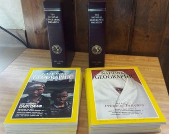 1991 Complete 12 Issues National Geographic Magazines In Leather Bound Cases e