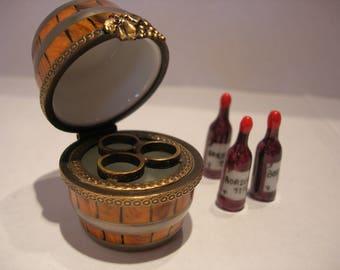 Limoges Wine Barrel  Box