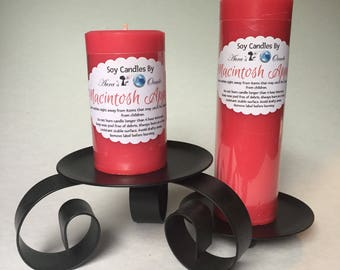 Macintosh Apple Scented Soy Wax Pillar Candles