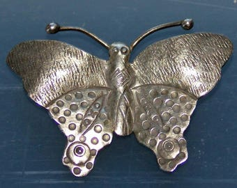 Vintage Butterfly Pendant Handmade Silver