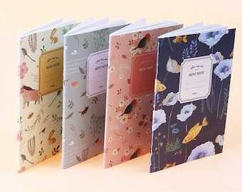 Notebook with vintage-style décor available in 4 colors listed here