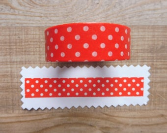 Tape 10 cm 1.5 m red with white polka dots