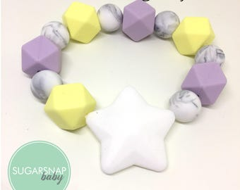 Teething Ring- Baby Bracelet - Chew Ring - Baby and Toddler Toy - teethe - silicone and Modern - Gift for Baby Shower -sensory toy - chewy