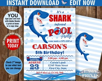 INSTANT DOWNLOAD / edit yourself now / Birthday Invitation / pool / party invite digital printable summer Bash / Boy / blue / Red / BDShark1