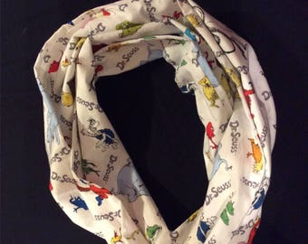 Dr. Suess Themed Infinity Scarf -23 inch length, White Infinity Scarf, Cat in the Hat Infinity Scarf, Teacher Infinity Scarf