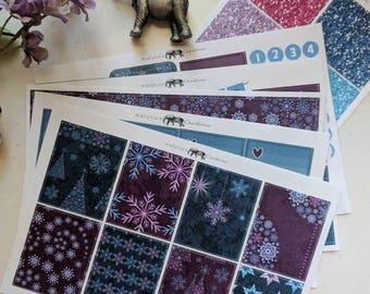 Purple Winter Vertical Weekly Sticker Kit -- Vertical Weekly Kit -- Matte Stickers