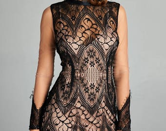 Fully Lace Mesh Long Sleeve Dress Black