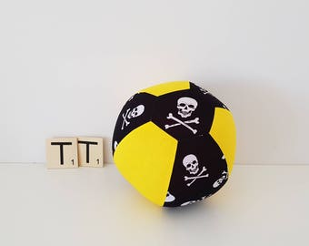 Fabric Balloon Cover - Skull and Bones - Balloon Cover - Fabric Bouncing Balloon Cover - Balloon - Ball - Yellow White Black