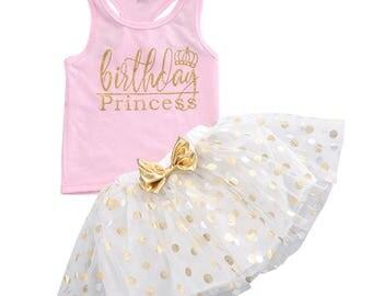 Birthday Princess, Birthday Tutu Outfit, Pink And Gold First Birthday Outfit, Birthday Tutu Dress, Birthday Princess Outfit,