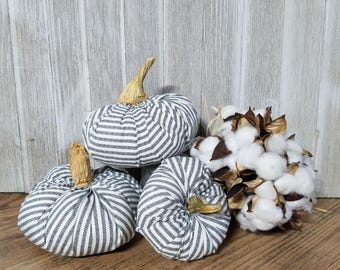 Fabric pumpkins, blue and white ticking